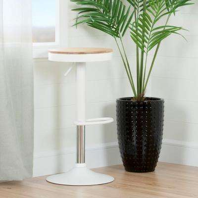 Crea 31-1/2 in. White Adjustable Metal Stool with Wood Seat
