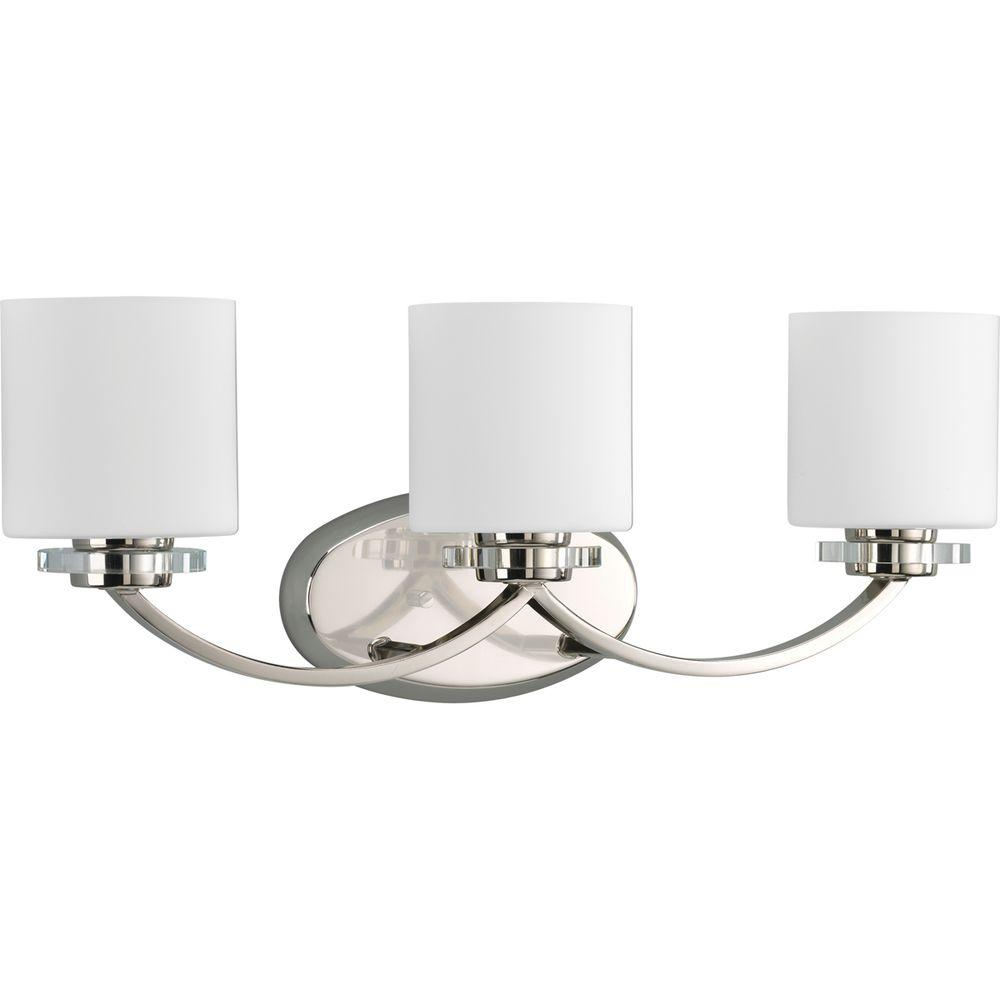 Progress Lighting Nisse Collection 3-Light Polished Nickel Vanity Light with Opal Etched Glass Shades