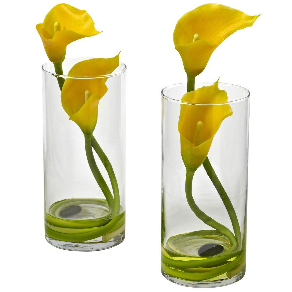 Nearly Natural Double Calla Lily With Cylinder (Set Of 2)