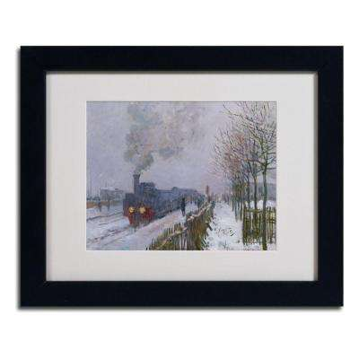11 in. x 14 in. Train in the Snow Matted Black Framed Wall Art