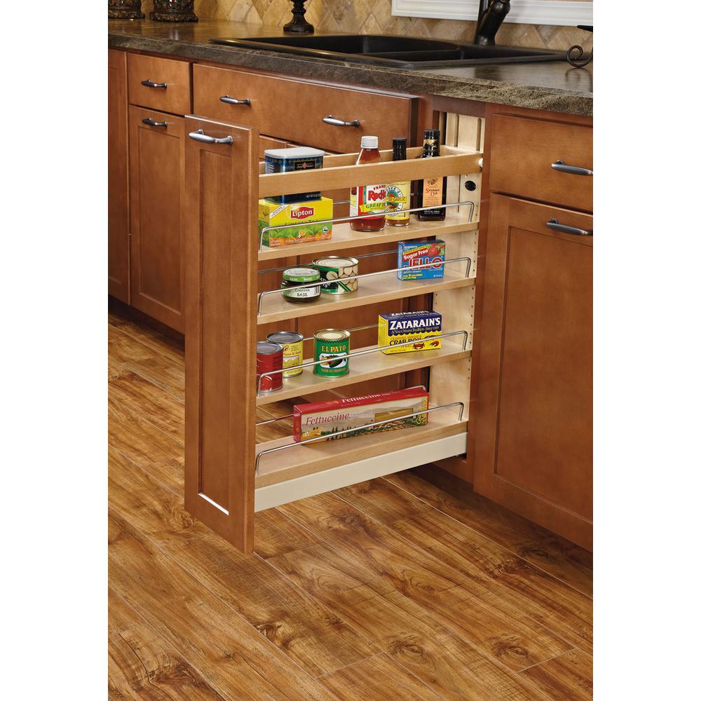 25.5 in. H x 5.5 in. W x 22.75 in. D Pull-Out Wood Base Cabinet Organizer with Soft-Close Slides and Servo-Drive