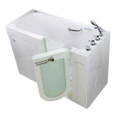 Lounger 60 in. Acrylic Walk-In Whirlpool and Air Bath Bathtub in White, Thermostatic Faucet, Heated Seat, RH Dual Drain