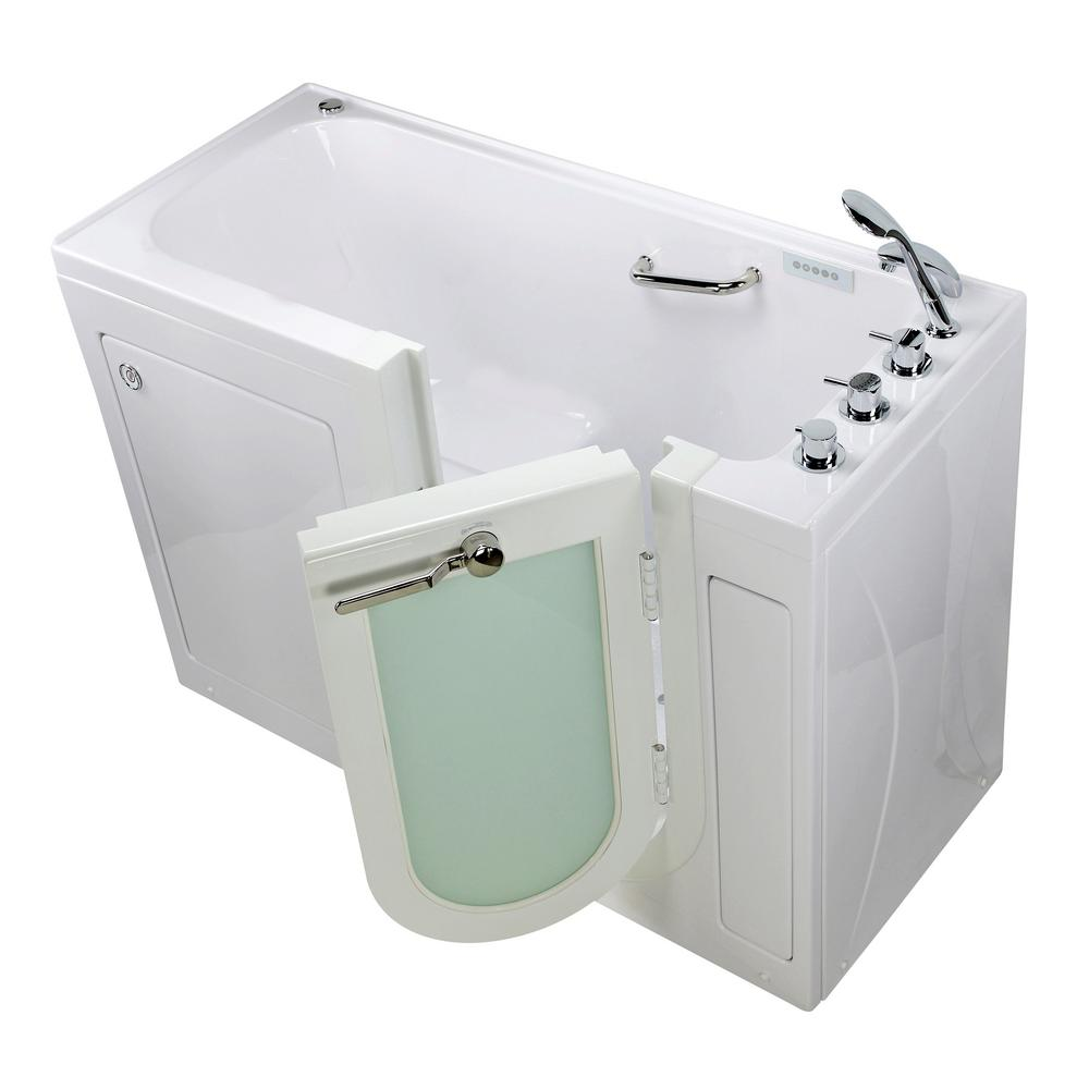 Ella Lounger 60 In Acrylic Walk In Whirlpool And Air Bath Bathtub In White Thermostatic Faucet Heated Seat Rh Dual Drain Oa2660dh R The Home Depot
