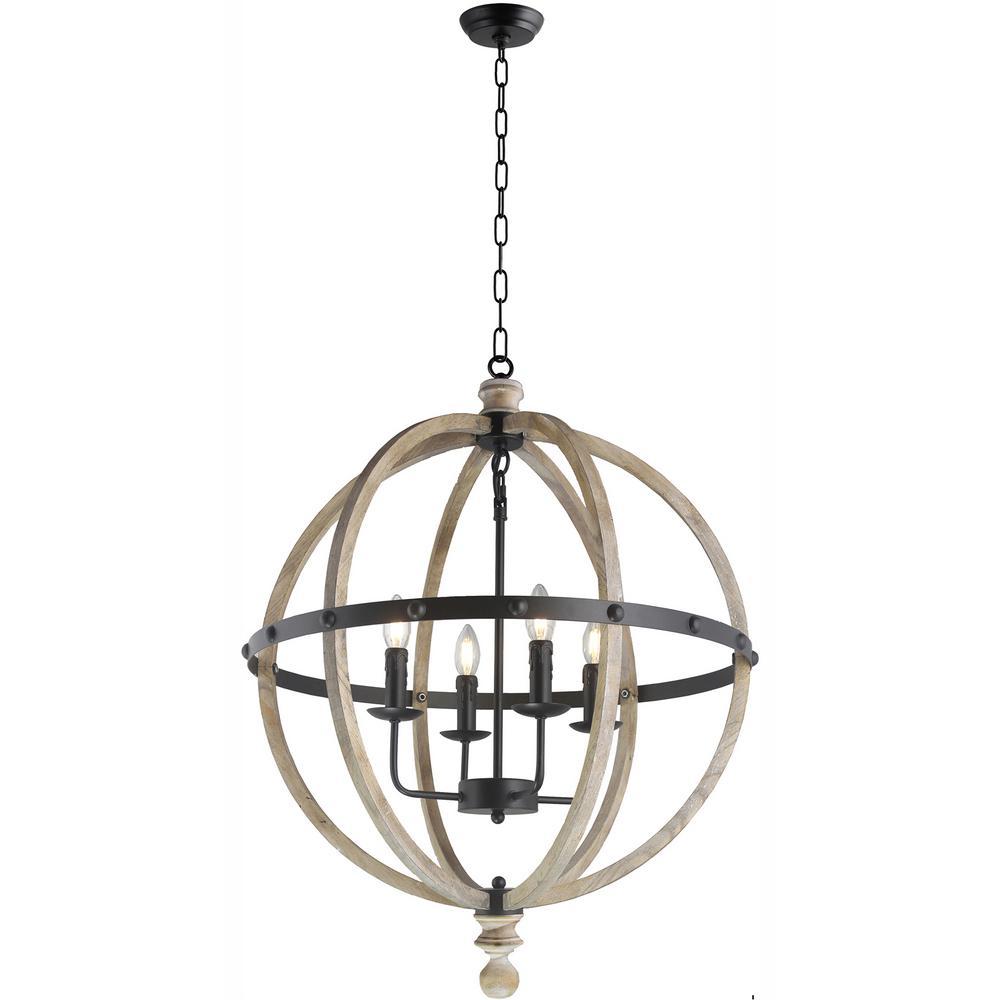 Y decor 4 light black metal antique wood globe chandelier