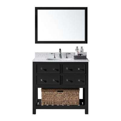 Elodie 36 in. W x 22 in. D x 34.21 in. H Bath Vanity in Espresso With White Marble Top With White Basin and Mirror