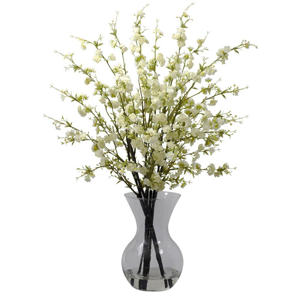 Nearly natural cherry blossoms with vase arrangement in white 1315 nearly natural cherry blossoms with vase arrangement in white reviewsmspy
