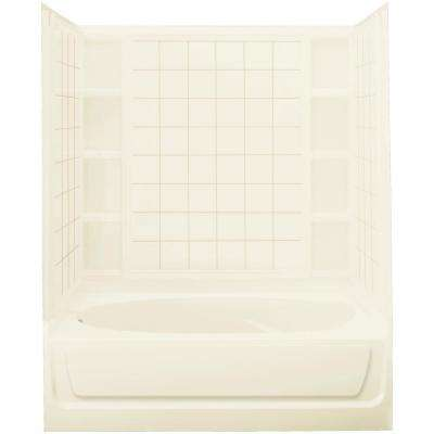 Ensemble 42 in. x 60 in. x 73-1/4 in. Bath and Shower Kit Left Drain in Biscuit