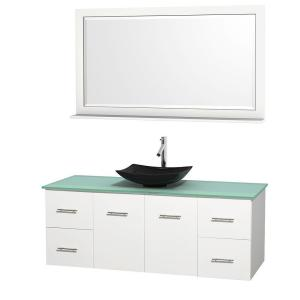 Wyndham Collection Centra 60 inch Vanity in White with Glass Vanity Top in Green, Black Granite Sink and 58 inch Mirror by Wyndham Collection
