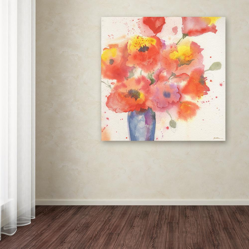 """14 in. x 14 in. """"Vase of Poppies 5"""" by Sheila"""