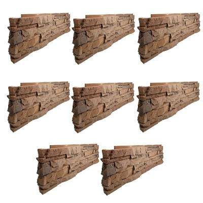 Stacked Stone Desert Sunrise 12 in. x 38 in. Faux Stone Siding Corner Panel Left (8-Pack)
