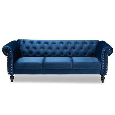 Emma 83.1 in. Navy Blue/Black Fabric 3-Seater Chesterfield Sofa with Round Arms