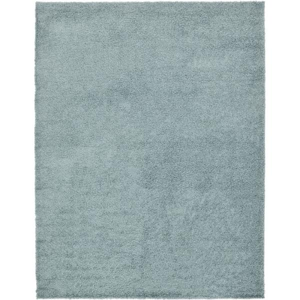 Solid Shag Slate Blue 9 ft. x 12 ft. Area Rug