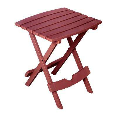 Quik-Fold Merlot Resin Plastic Outdoor Side Table