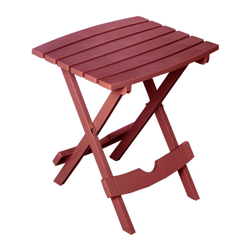 Quik-Fold Merlot Plastic Resin Outdoor Side Table
