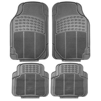 Gray Durable Heavy Duty 29 in. x 18 in. x 2 in. Rubber Car Floor Mats (4-Piece)