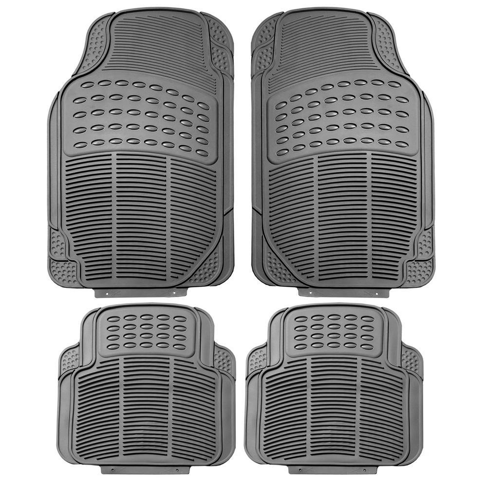 Gray Durable Heavy Duty 29 in. x 18 in. x 2 in. Rubber Car Floor Mats (4-Piece)