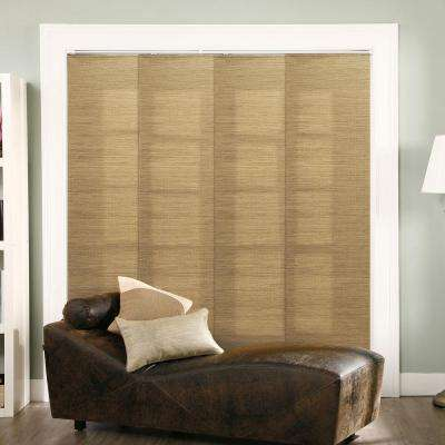 Adjustable Sliding Panel / Cut to Length, Curtain Drape Vertical Blind, Natural Woven, Privacy - French Sandalwood