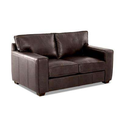 Drake Leather Down Blend Loveseat in Driftwood
