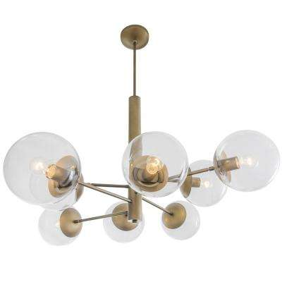 Rogue Decor Mid-Century 8-Light Antique Brass Chandelier with Clear Glass