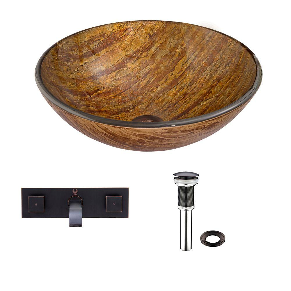 VIGO Glass Vessel Sink in Amber Sunset with Titus Wall-Mount Faucet Set in Antique Rubbed Bronze