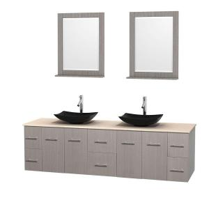 Wyndham Collection Centra 80 inch Double Vanity in Gray Oak with Marble Vanity Top in Ivory, Black Granite Sinks and 24... by Wyndham Collection