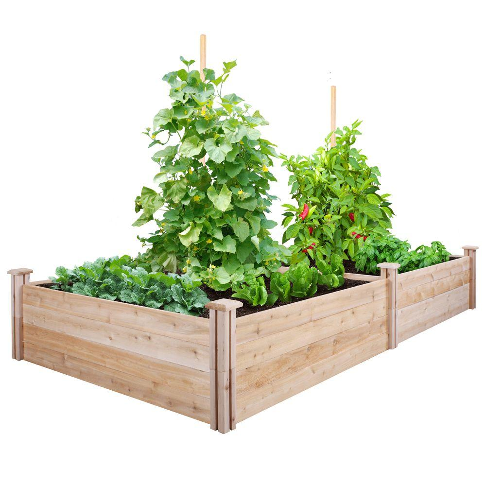 Greenes fence 4 ft x 8 ft x 14 in cedar raised garden for Raised vegetable garden