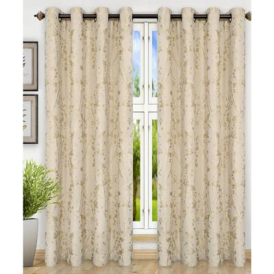 Meadow Polyester Lined Grommet Top Panel In Linen 50 In W X 63 In L 730462126795 The Home Depot
