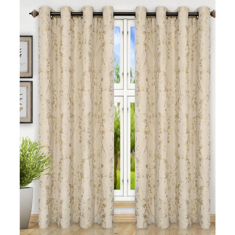 Meadow Polyester Lined Grommet Top Panel in Linen - 50 in. W x 84 in. L