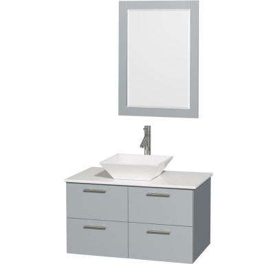 Amare 36 in. W x 21.5 in. D Vanity in Dove Gray with Solid-Surface Vanity Top in White with White Basin and Mirror