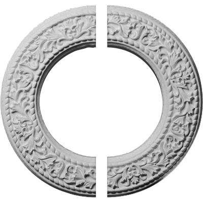 13-3/8 in. O.D. x 7-1/2 in. I.D. x 3/4 in. P Blackthorn Ceiling Medallion (2-Piece)