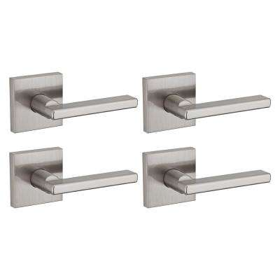 Halifax Square Satin Nickel Passage Hall/Closet Door Lever (4-Pack)