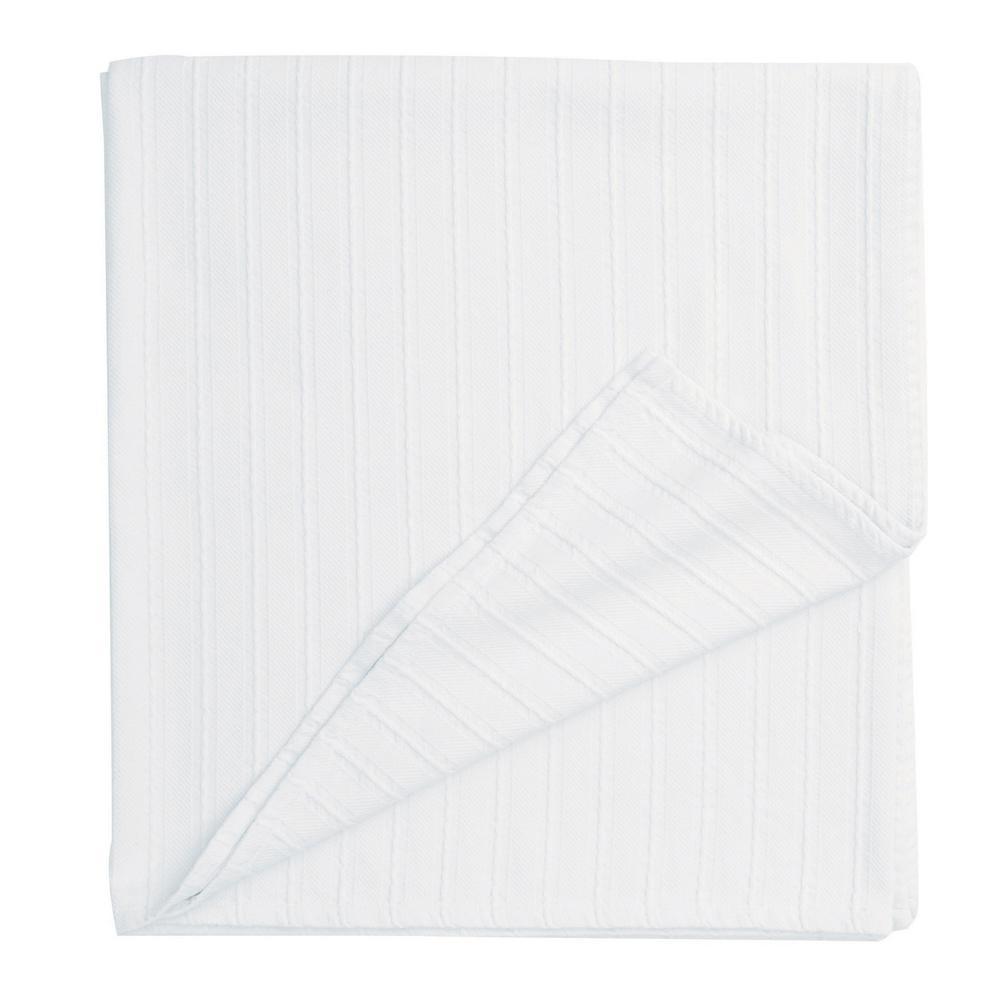 Legends Egyptian Cotton White Woven Throw Blanket