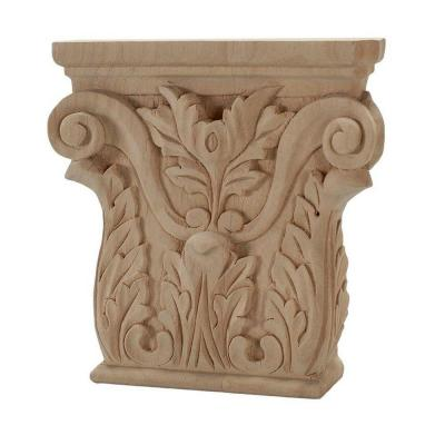 5-3/8 in. x 5-1/4 in. x 1-1/8 in. Unfinished Hand Carved Solid American Alder Acanthus Wood Onlay Capital Wood Applique