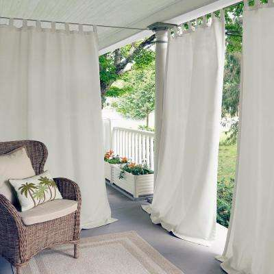 Semi-Opaque Matine White Indoor/Outdoor Window Curtain Panel - 52 in. W x 84 in. L