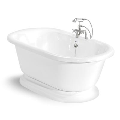 70 in. AcraStone Acrylic Double Pedestal Flatbottom Non-Whirlpool Bathtub and Faucet in Satin Nickel