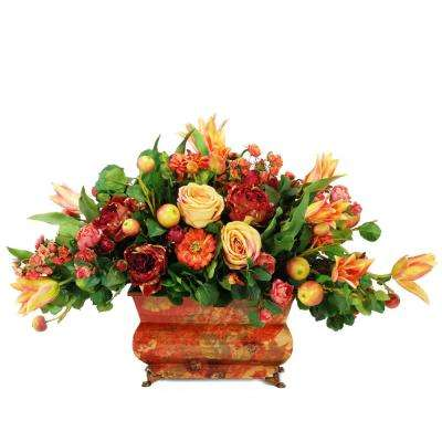 Mixed Bouquet 34 in. Wide Rectangular Planter Flowers