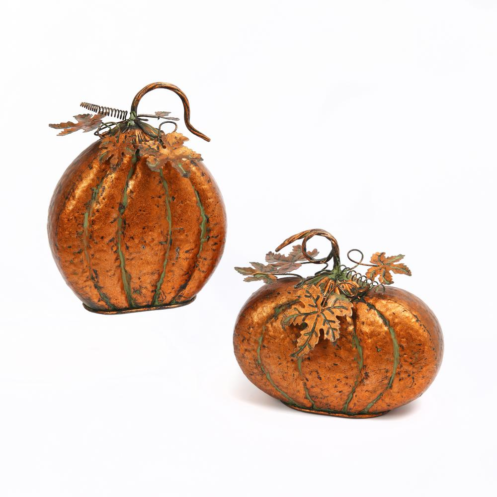 Gerson Assorted 11.75 in. H Iron Harvest Tabletop Pumpkins with Leaf (Set of 2)