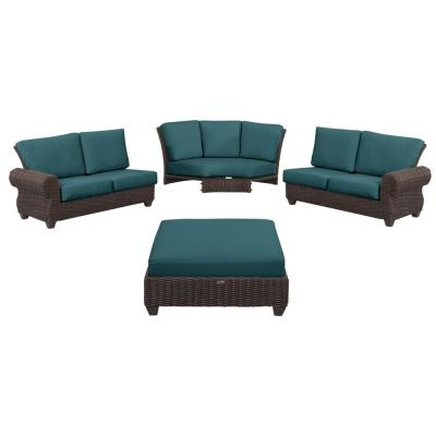 Mill Valley 4-Piece Brown Wicker Outdoor Patio Sectional Sofa Set with CushionGuard Charleston Blue-Green Cushions