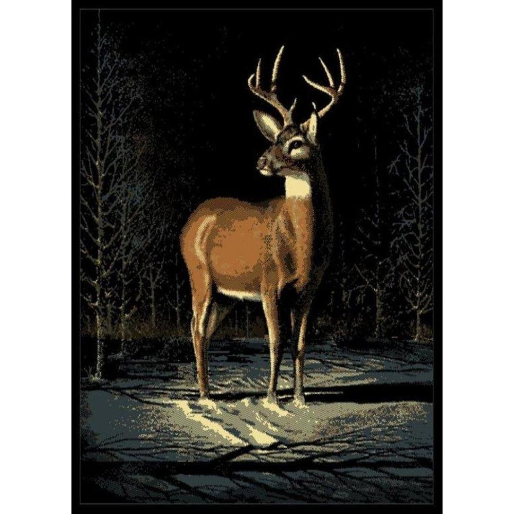 Winter Buck Black/Beige 5 ft. 3 in. x 7 ft. 2 in. Area Rug