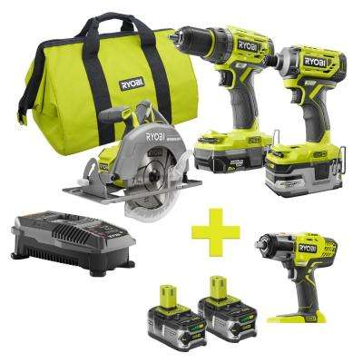 18-Volt ONE+ Lithium-Ion Cordless Brushless Combo Kit (3-Tool) w/Bonus Impact Wrench, (2) 4Ah Batteries