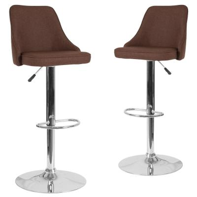 32.5 in. Brown Fabric Bar Stool (Set of 2)