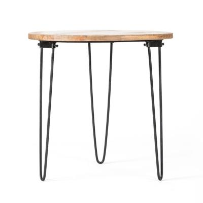 Bogart Folding Leg  Black and Natural Wood Color Mango Wood Side Table