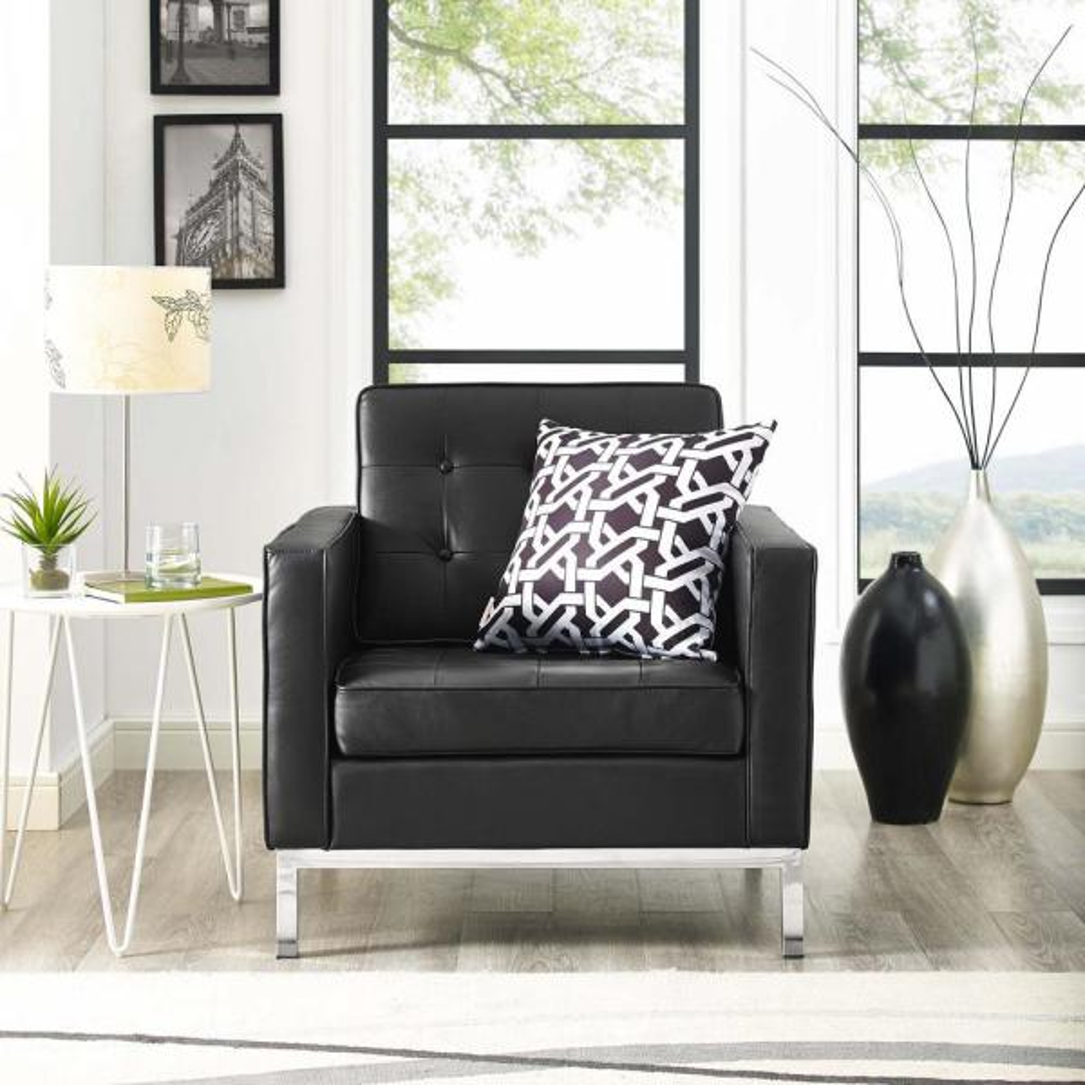 Loft Black Leather Armchair