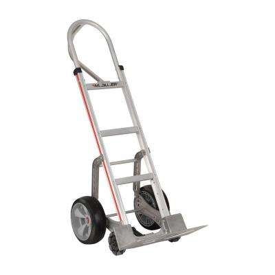 500 lb. Capacity Self-Stabilizing Aluminum Hand Truck, 10 in. Foam Wheels and Triple Row Multi-Directional Roller Wheels