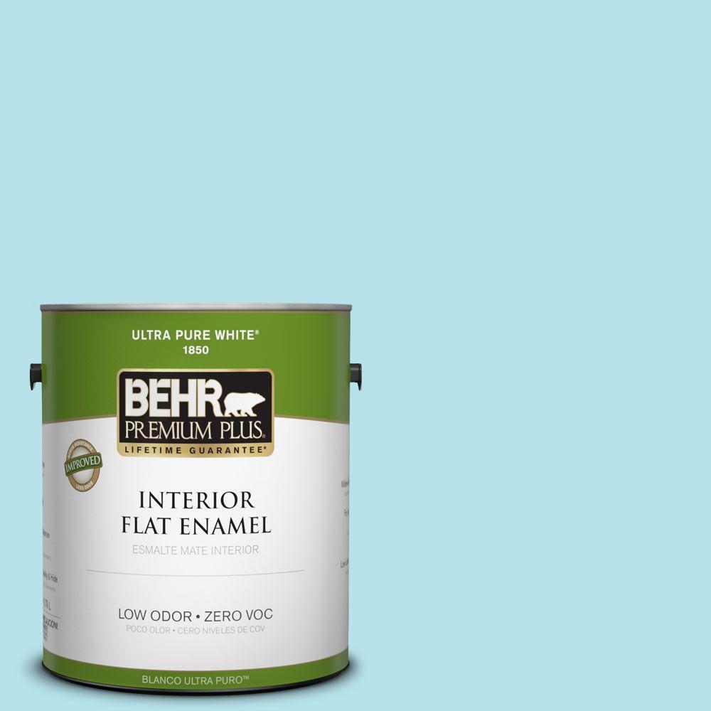 BEHR Premium Plus 1-gal. #510A-3 Fresh Water Zero VOC Flat Enamel Interior Paint-DISCONTINUED