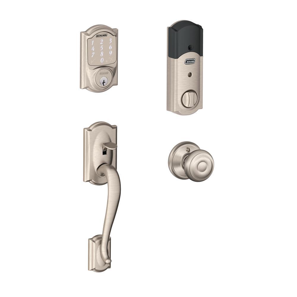 Camelot Satin Nickel Sense Smart Door Lock with Georgian Knob Door Handleset