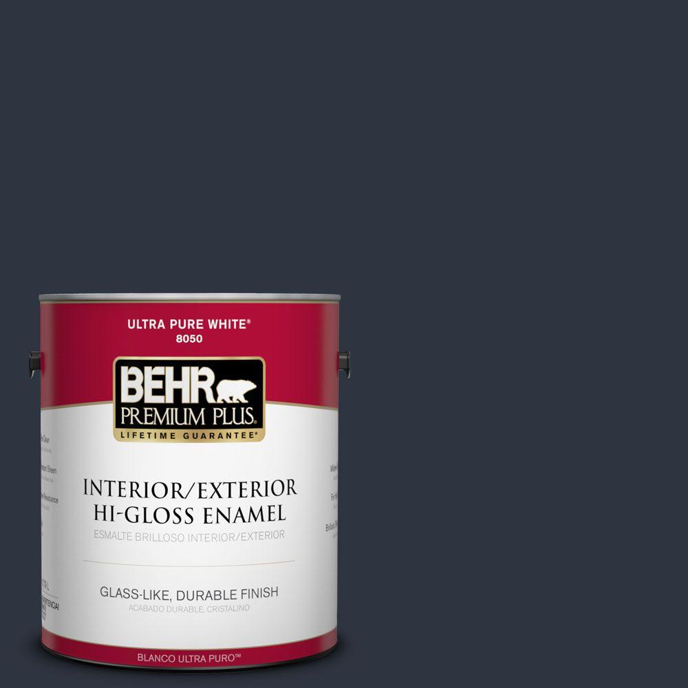 BEHR Premium Plus 1-gal. #ECC-23-3 Blackbird Hi-Gloss Enamel Interior/Exterior Paint