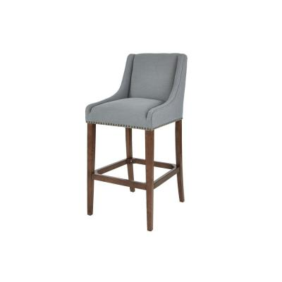 Blakewood Haze Oak Finish Upholstered Bar Stool with Back and Aloe Green Seat (20.47 in. W x 44.49 in. H)