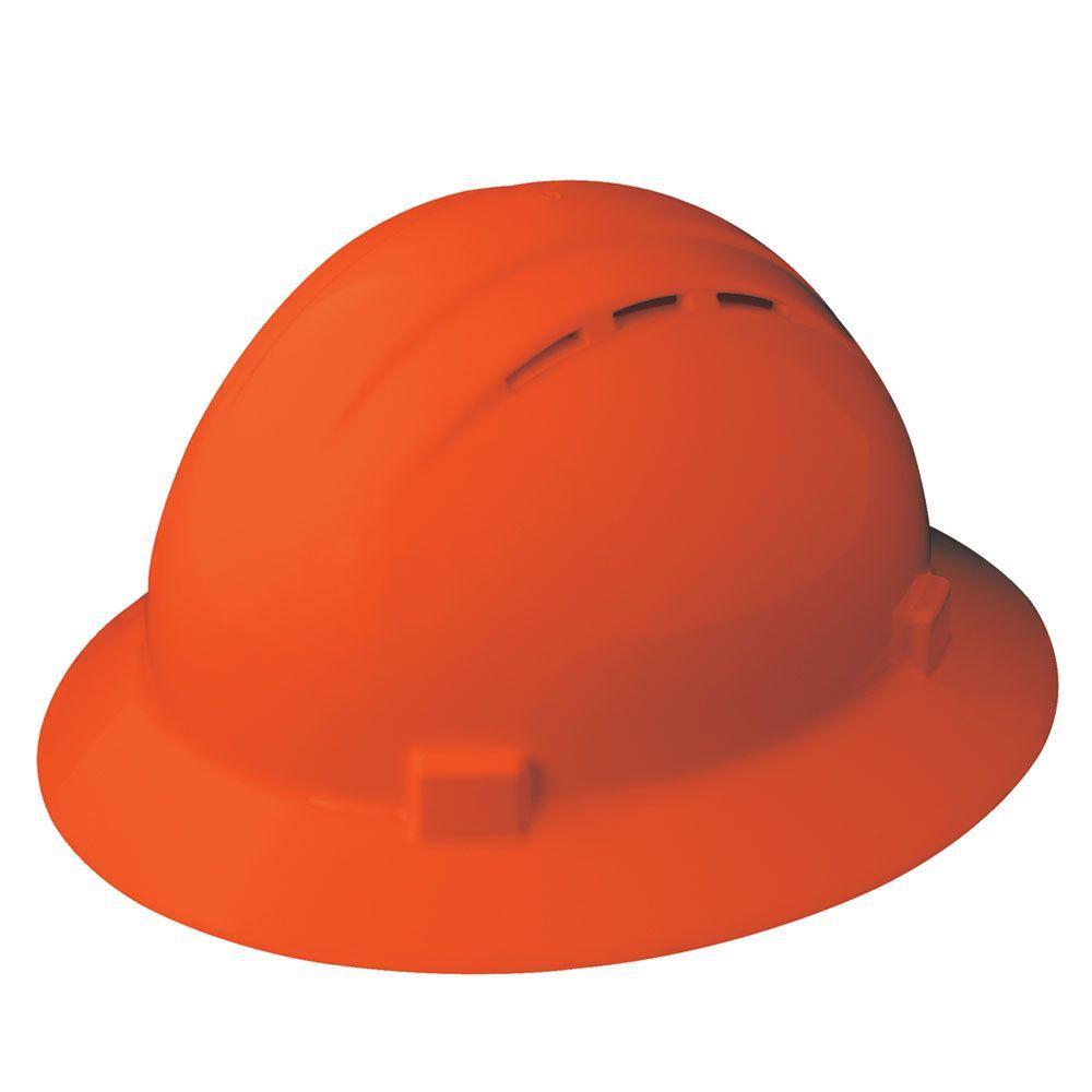 Vent 4 Point Nylon Suspension Mega Ratchet Full Brim Hard Hat in Hi Viz Orange