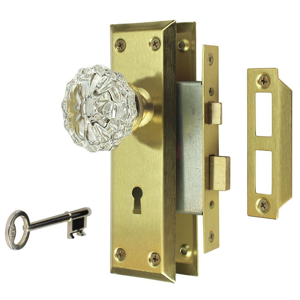 Defiant 2 In Satin Brass Victorian Glass Knob Mortise Set